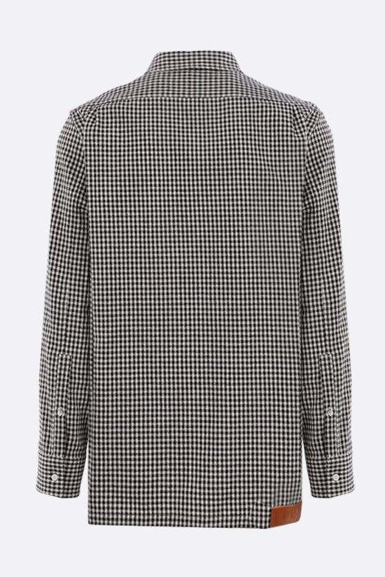 LOEWE: oversize check cotton linen blend shirt Color Black_2