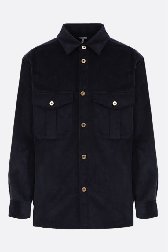 LOEWE: logo patch corduroy overshirt Color Blue_1