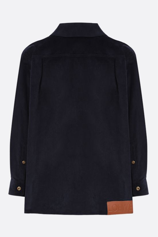 LOEWE: logo patch corduroy overshirt Color Blue_2