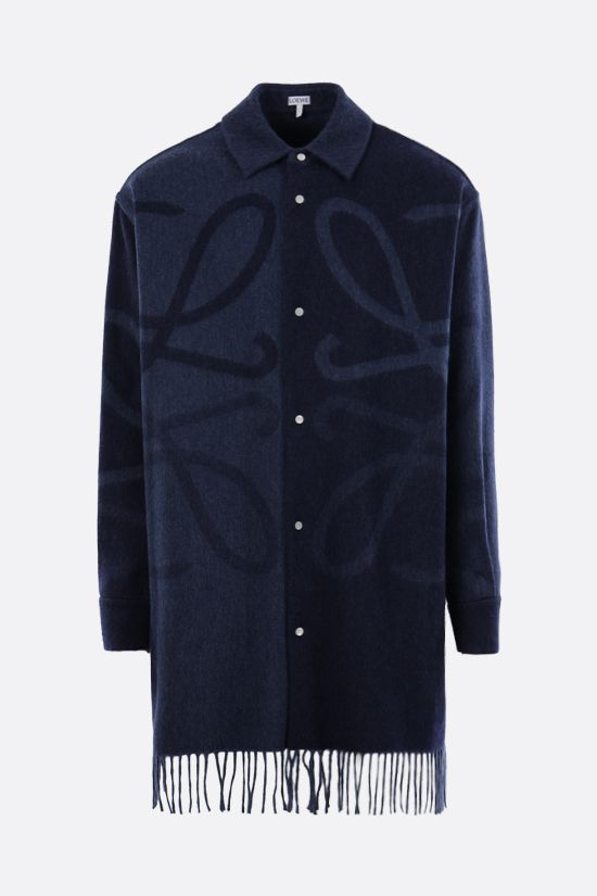 LOEWE: Anagram oversize cashmere wool blend shirt Color Blue_1