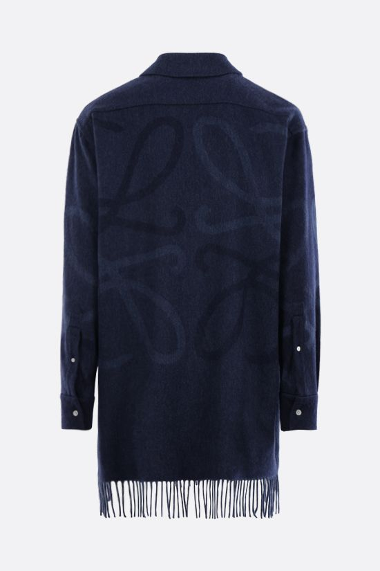 LOEWE: Anagram oversize cashmere wool blend shirt Color Blue_2
