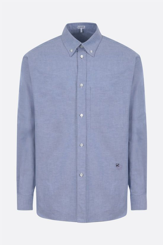 LOEWE: Anagram embroidered cotton shirt Color Blue_1