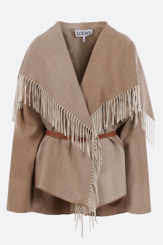 LOEWE: Anagram wool cashmere blend cape Color Neutral_1