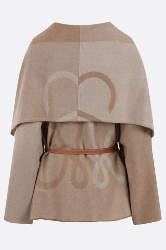 LOEWE: Anagram wool cashmere blend cape Color Neutral_2