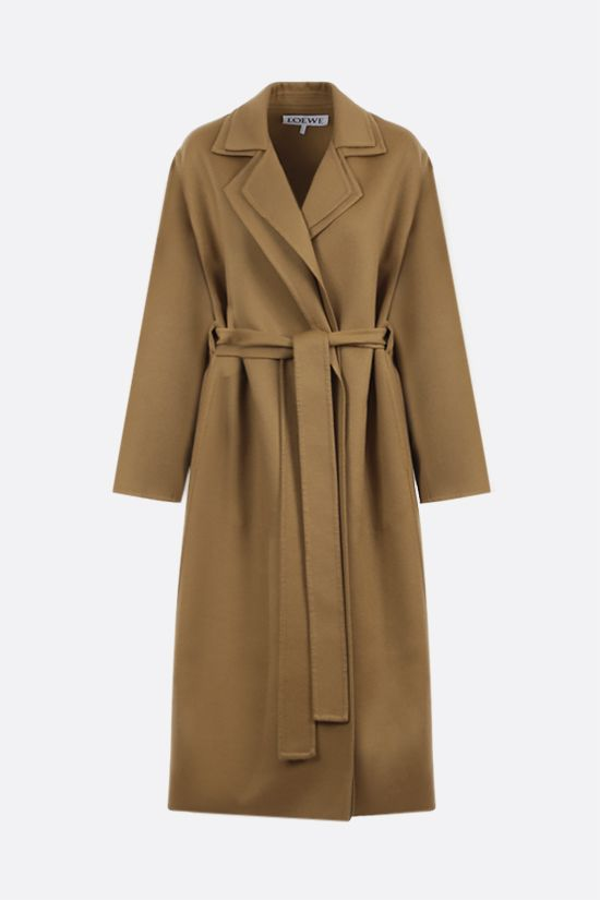 LOEWE: wool cashmere blend wrap coat Color Brown_1