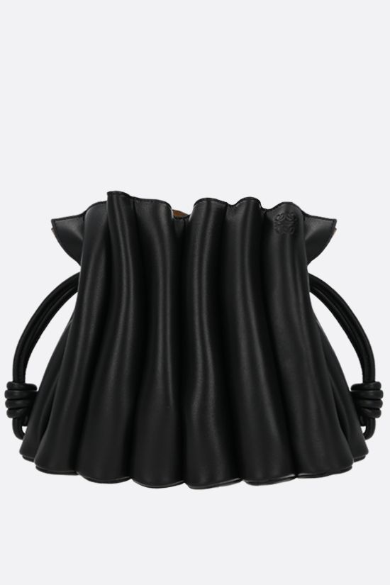 LOEWE: Flamenco Ondas smooth leather clucth Color Black_1