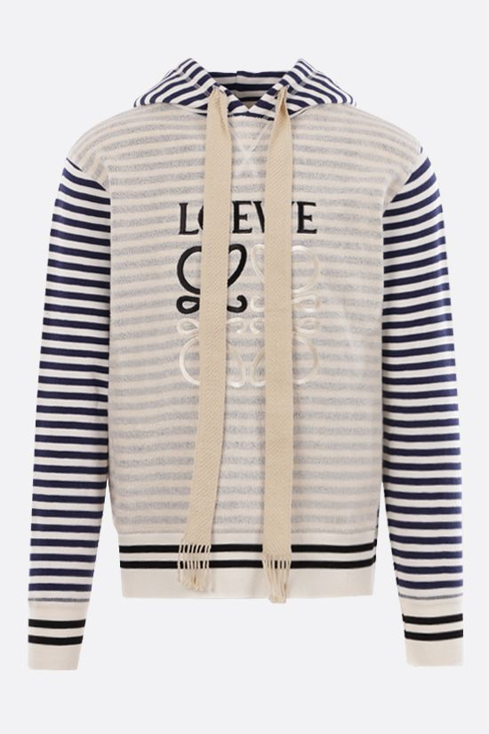 LOEWE: Anagram striped cotton hoodie Color Neutral_1