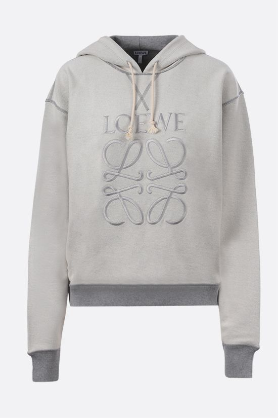 LOEWE: Loewe Anagram embroidered cotton hoodie Color Grey_1