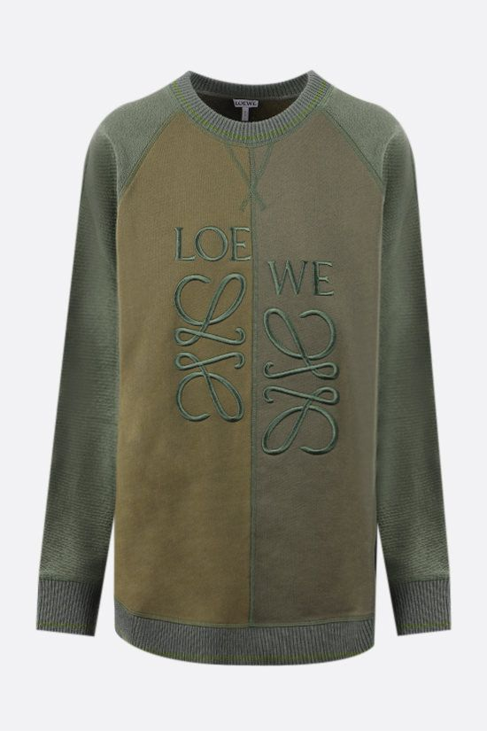 LOEWE: Anagram cotton sweatshirt with wool inserts Color Green_1