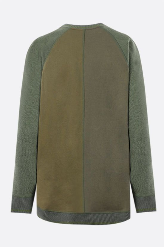 LOEWE: Anagram cotton sweatshirt with wool inserts Color Green_2