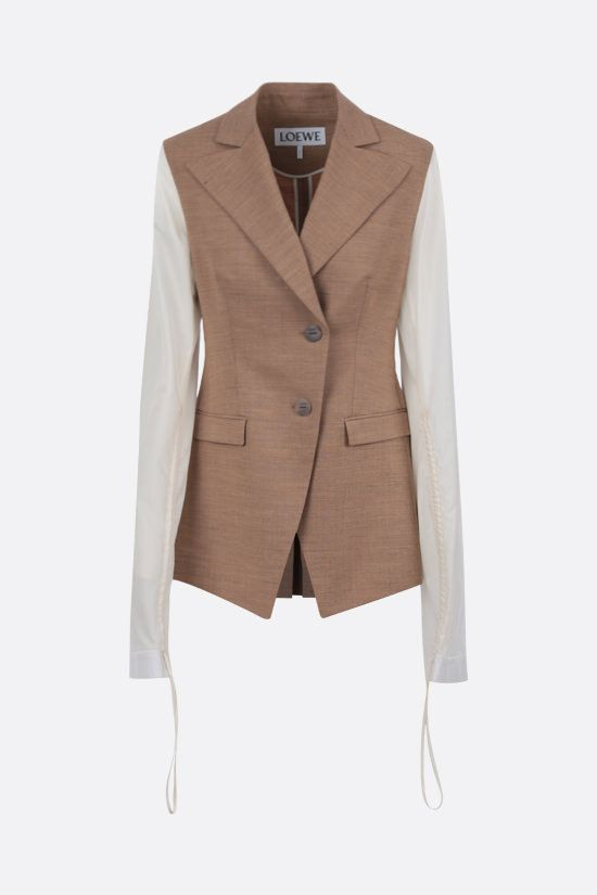 LOEWE: single-breasted wool blend jacket with contrast sleeves Color Neutral_1