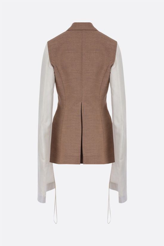 LOEWE: single-breasted wool blend jacket with contrast sleeves Color Neutral_2