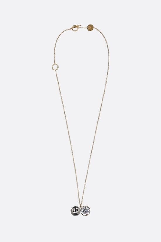 LOEWE: Sphere crystal-embellished brass necklace Color Gold_1