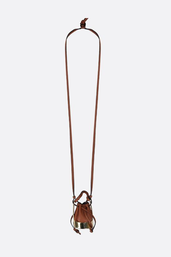 LOEWE: Balloon bag smooth leather and brass necklace Color Gold_1