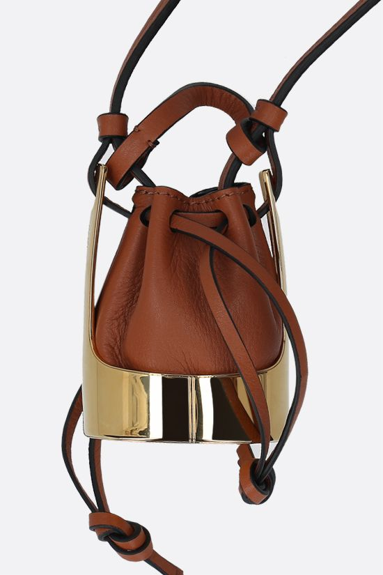 LOEWE: Balloon bag smooth leather and brass necklace Color Gold_2
