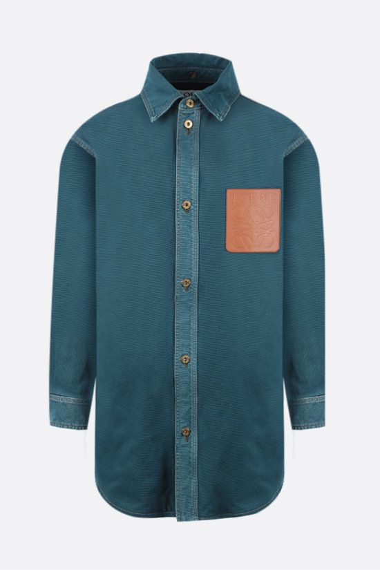 LOEWE: giacca-camicia oversize in denim con colletto in shearling Colore Verde_2