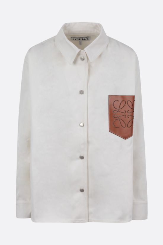 LOEWE: leather pocket denim overshirt Color Neutral_1