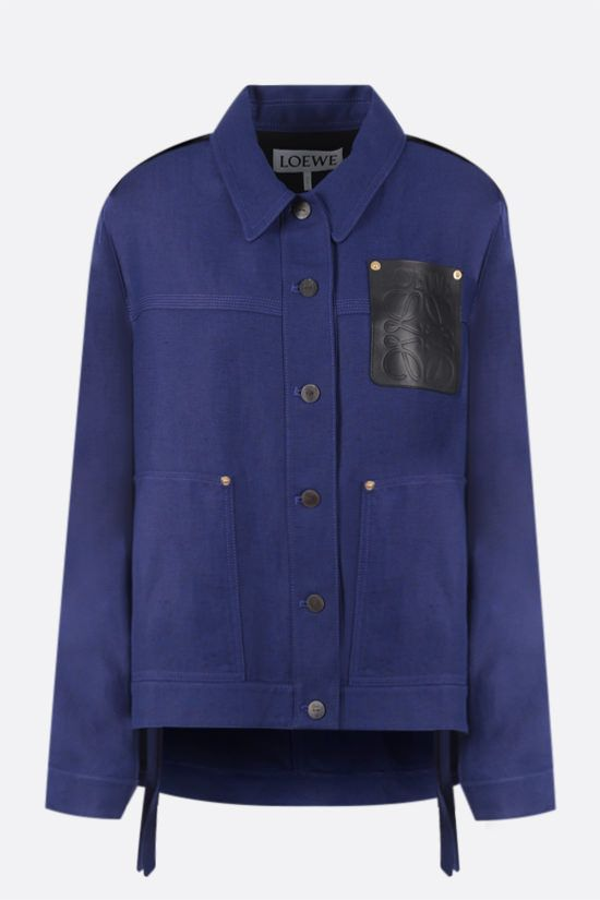 LOEWE: linen blend overshirt Color Blue_1