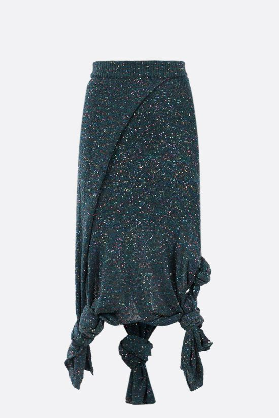 LOEWE: knot-detailed sequinned knit skirt Color Blue_1