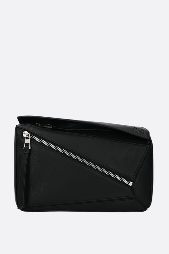 LOEWE: Puzzle small smooth leather belt bag Color Black_1