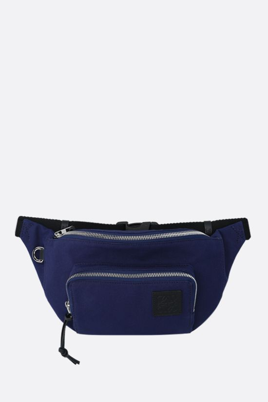 LOEWE: Anagram patch canvas belt bag Color Blue_1