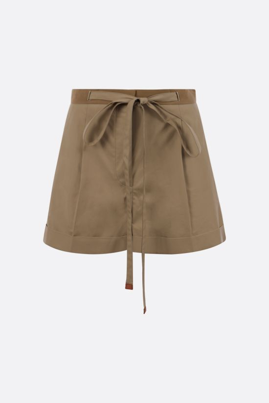 LOEWE: belt-detailed cotton shorts Color Brown_1