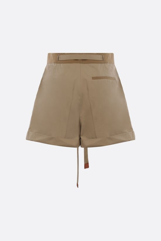 LOEWE: belt-detailed cotton shorts Color Brown_2