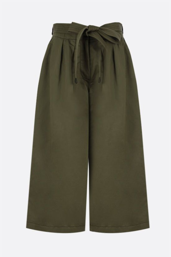 LOEWE: belt-detailed cotton linen blend cropped pants Color Brown_1