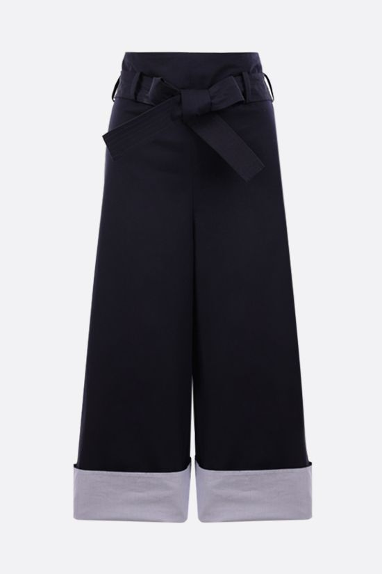 LOEWE: belt-detailed cotton cropped pants Color Blue_1