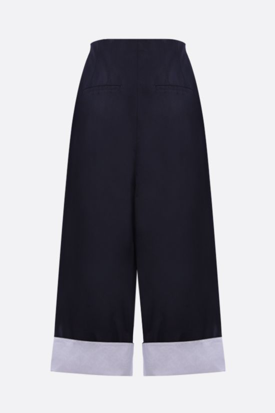 LOEWE: belt-detailed cotton cropped pants Color Blue_2