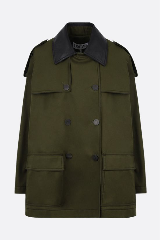 LOEWE: cotton military parka with leather collar Color Brown_1