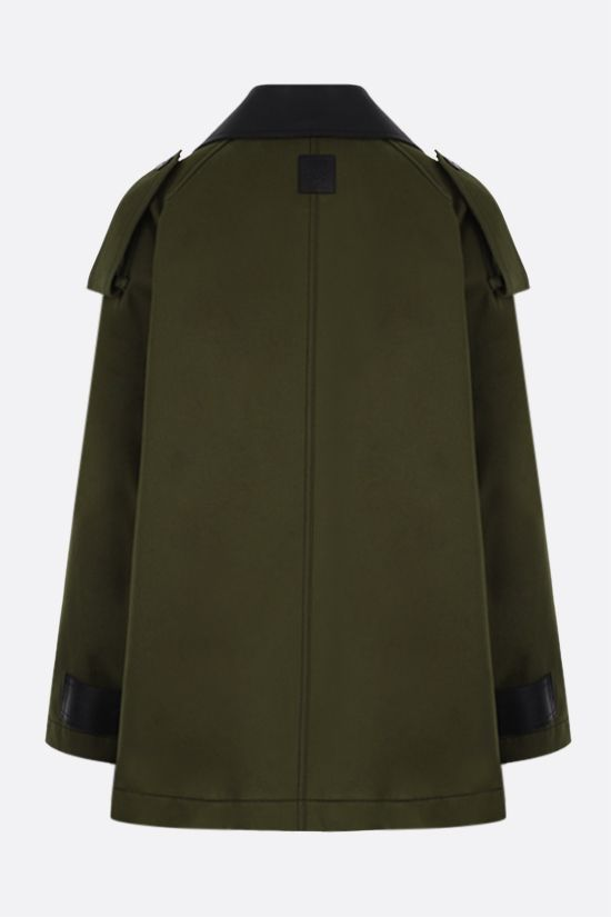 LOEWE: cotton military parka with leather collar Color Brown_2