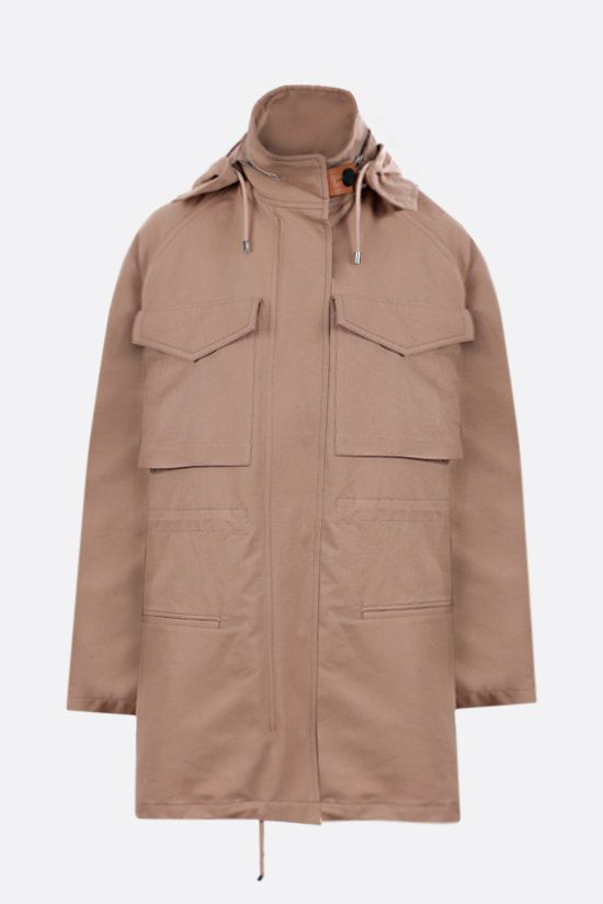 LOEWE: cotton linen blend hooded parka Color Neutral_1