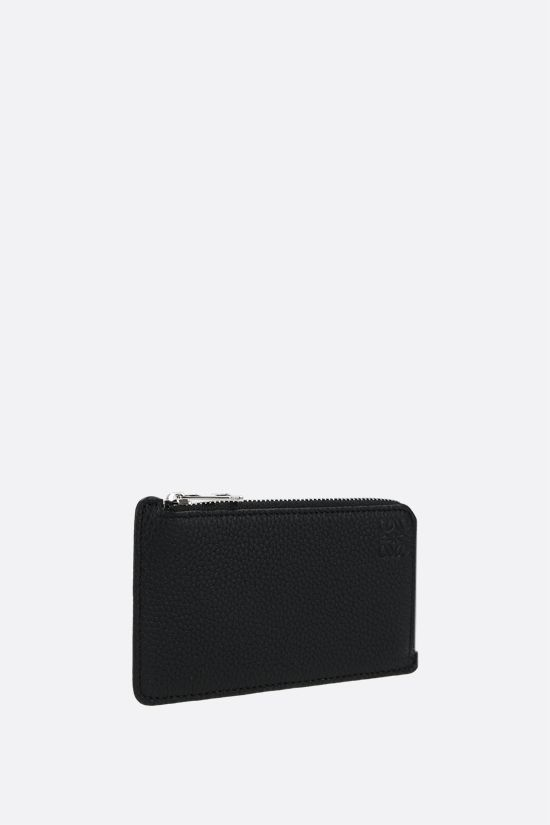 LOEWE: grainy leather zipped card case Color Black_2