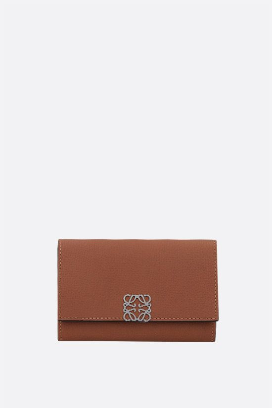 LOEWE: grainy leather chain wallet Color Brown_1