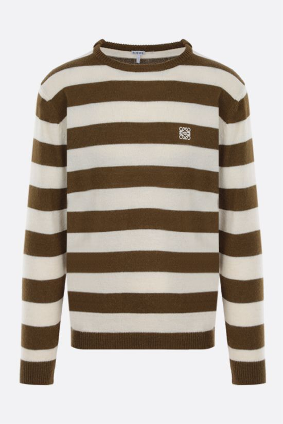 LOEWE: Anagram embroidered striped alpaca wool blend pullover Color Multicolor_1
