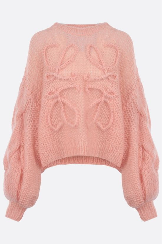 LOEWE: pullover oversize Anagram in misto mohair Colore Rosa_1