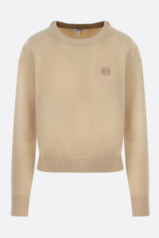 LOEWE: pullover cropepd Anagram in lana Colore Giallo_1