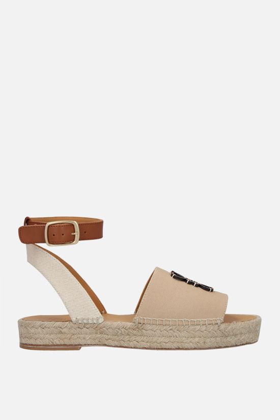 LOEWE: Anagram canvas and smooth leather espadrilles Color Brown_1