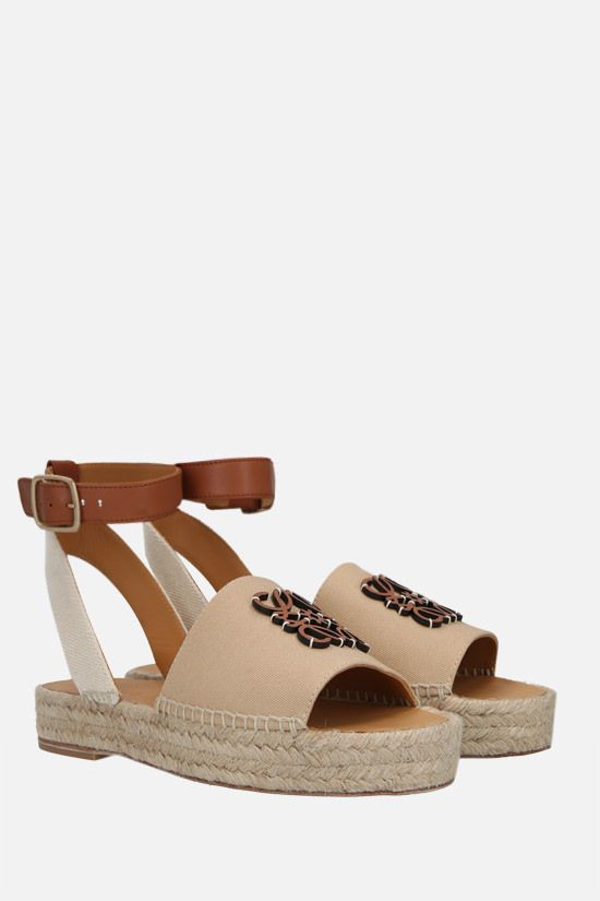LOEWE: Anagram canvas and smooth leather espadrilles Color Brown_2