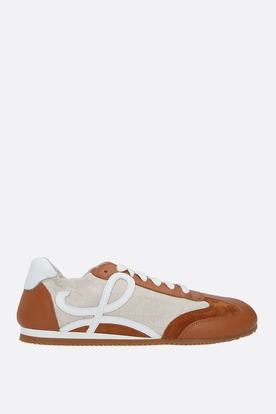 LOEWE: Ballet smooth leather and canvas sneakers Color Brown_1