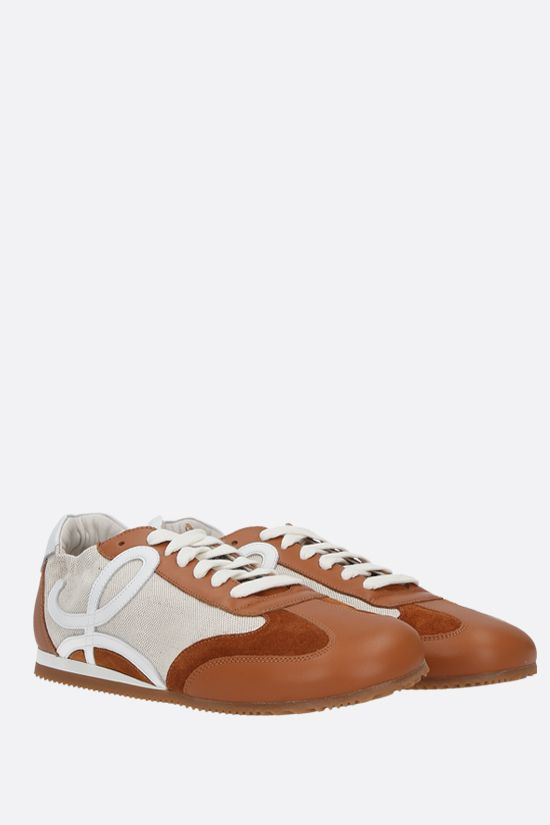 LOEWE: Ballet smooth leather and canvas sneakers Color Brown_2