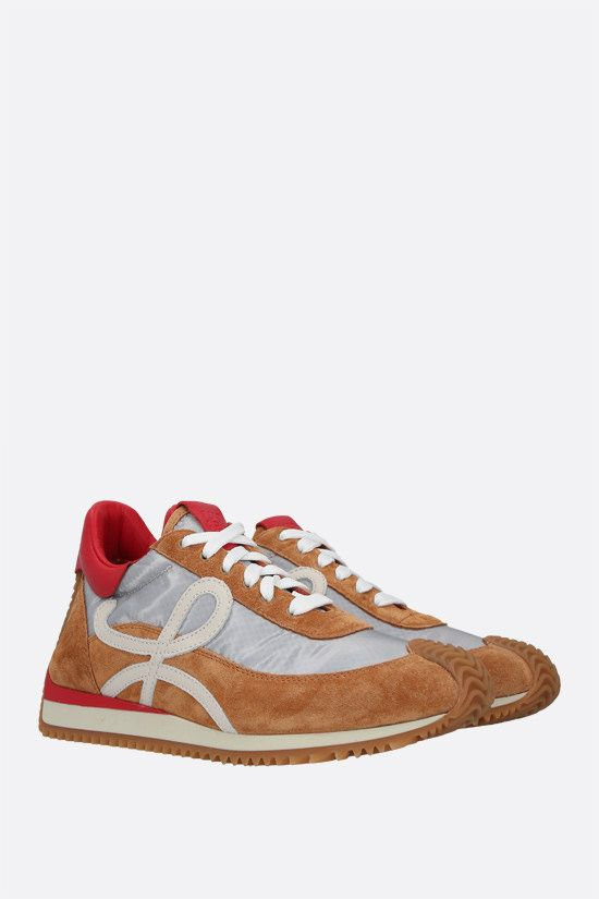 LOEWE: Flow suede and nylon sneakers Color Silver_2