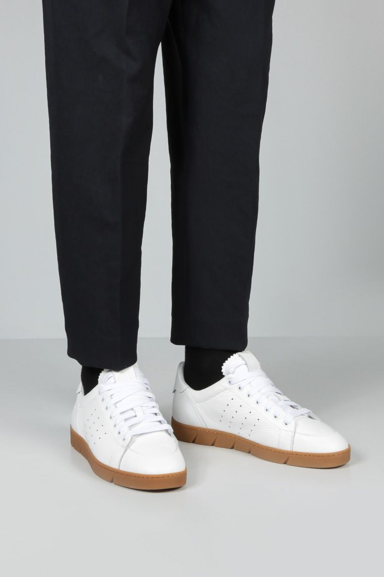 LOEWE: Soft grainy leather sneakers Color White_2