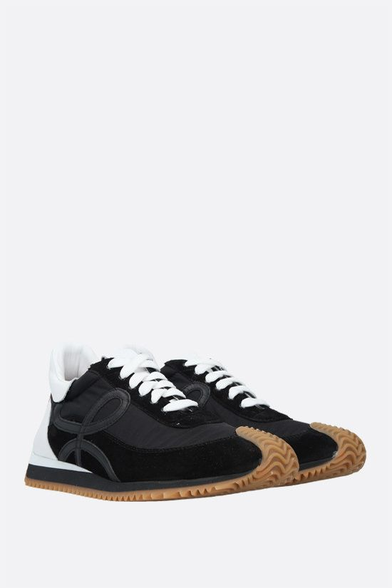 LOEWE: Flow suede and nylon sneakers Color Black_2