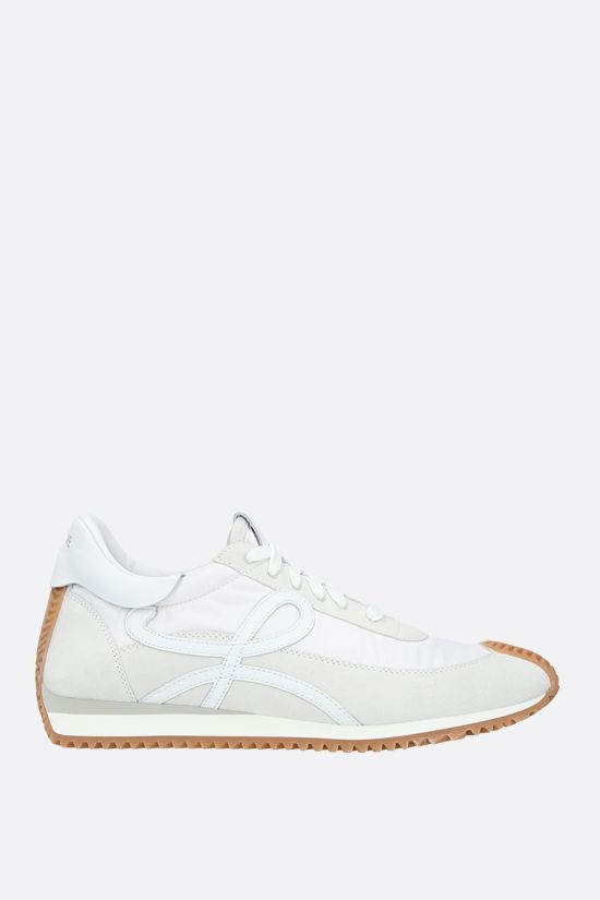 LOEWE: Flow suede and nylon sneakers Color White_1