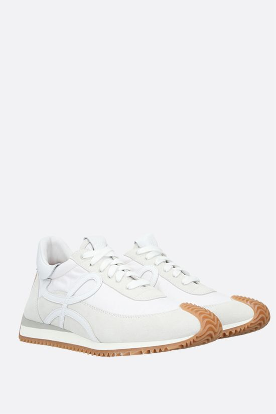 LOEWE: Flow suede and nylon sneakers Color White_2