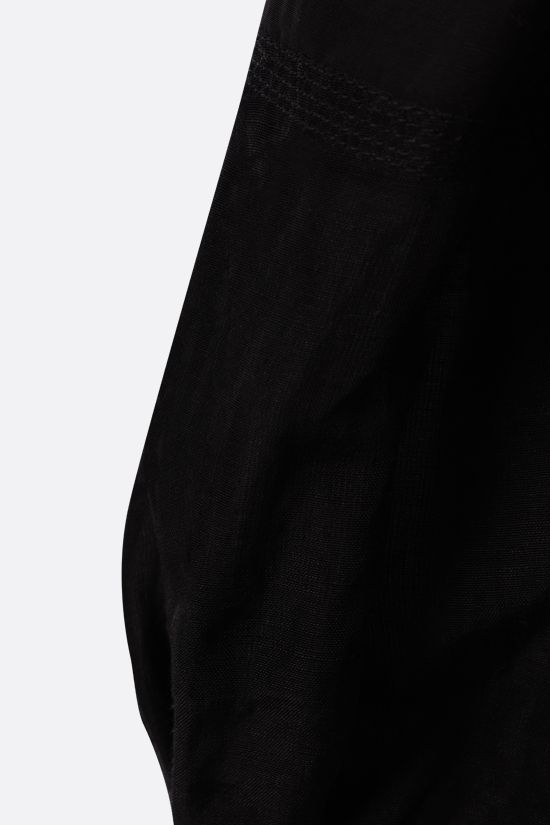 LOEWE: top cropped in misto lino Colore Black_3