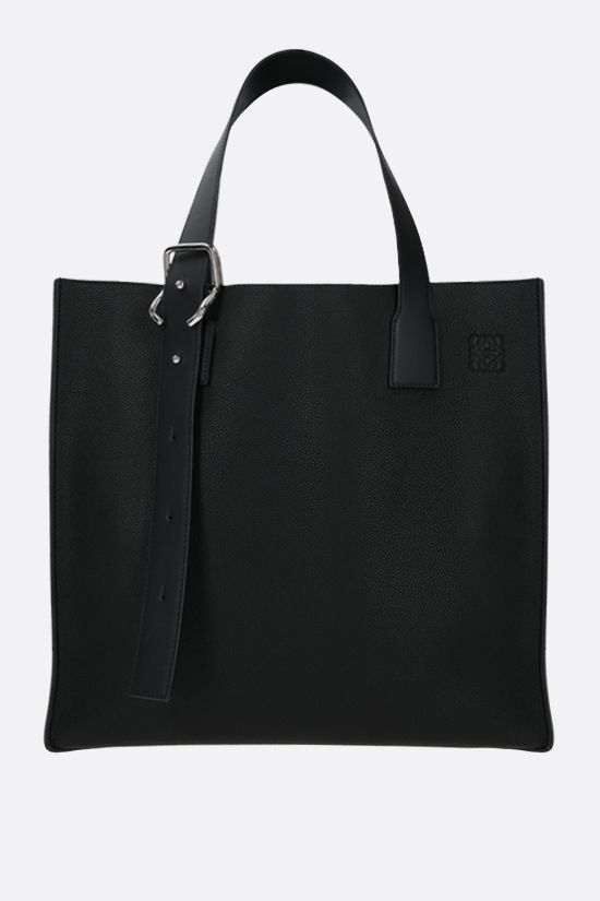 LOEWE: Buckle grainy leather tote bag Color Black_1