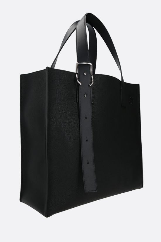 LOEWE: Buckle grainy leather tote bag Color Black_2